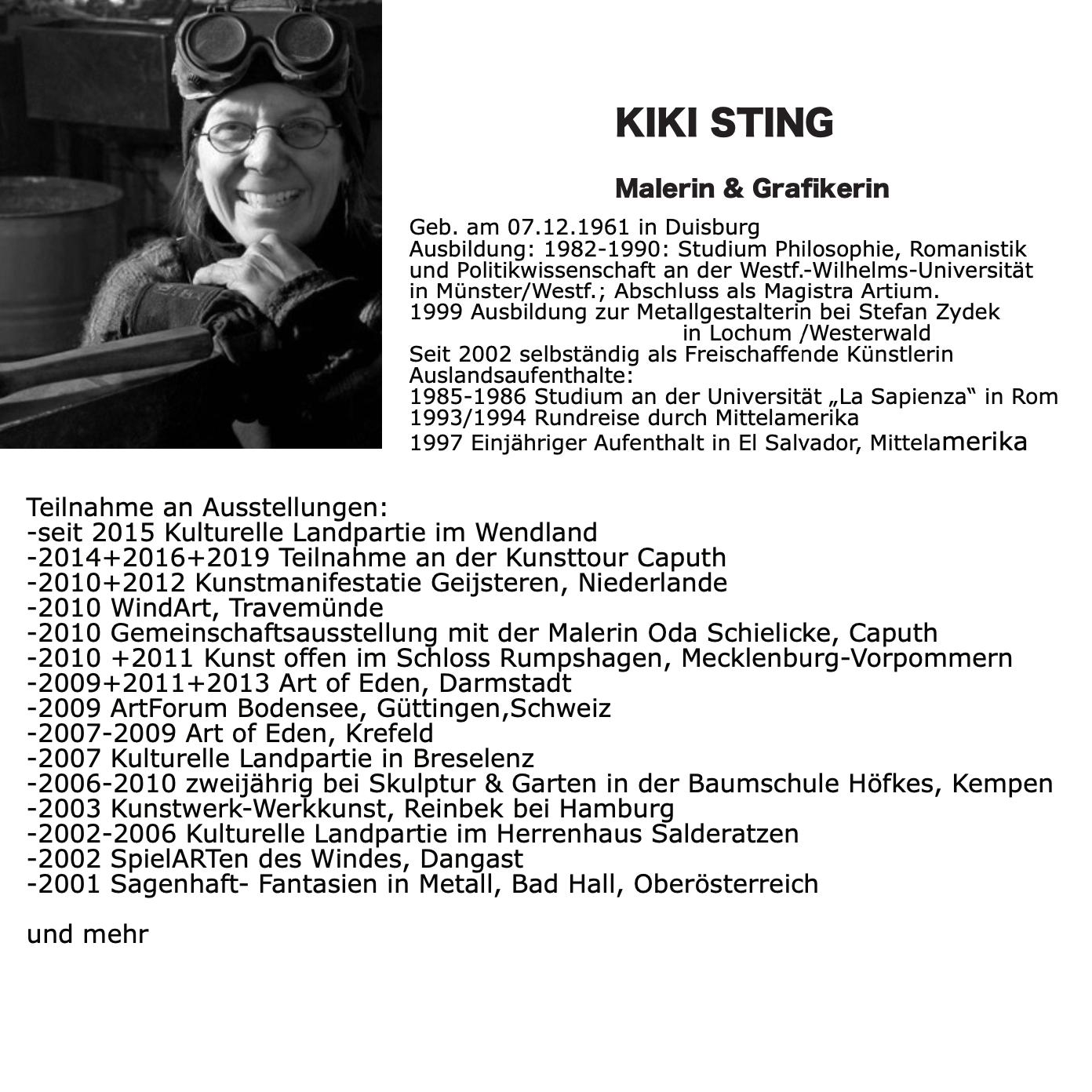 Künstlerin Kiki Sting, SchlossGalerie Haape