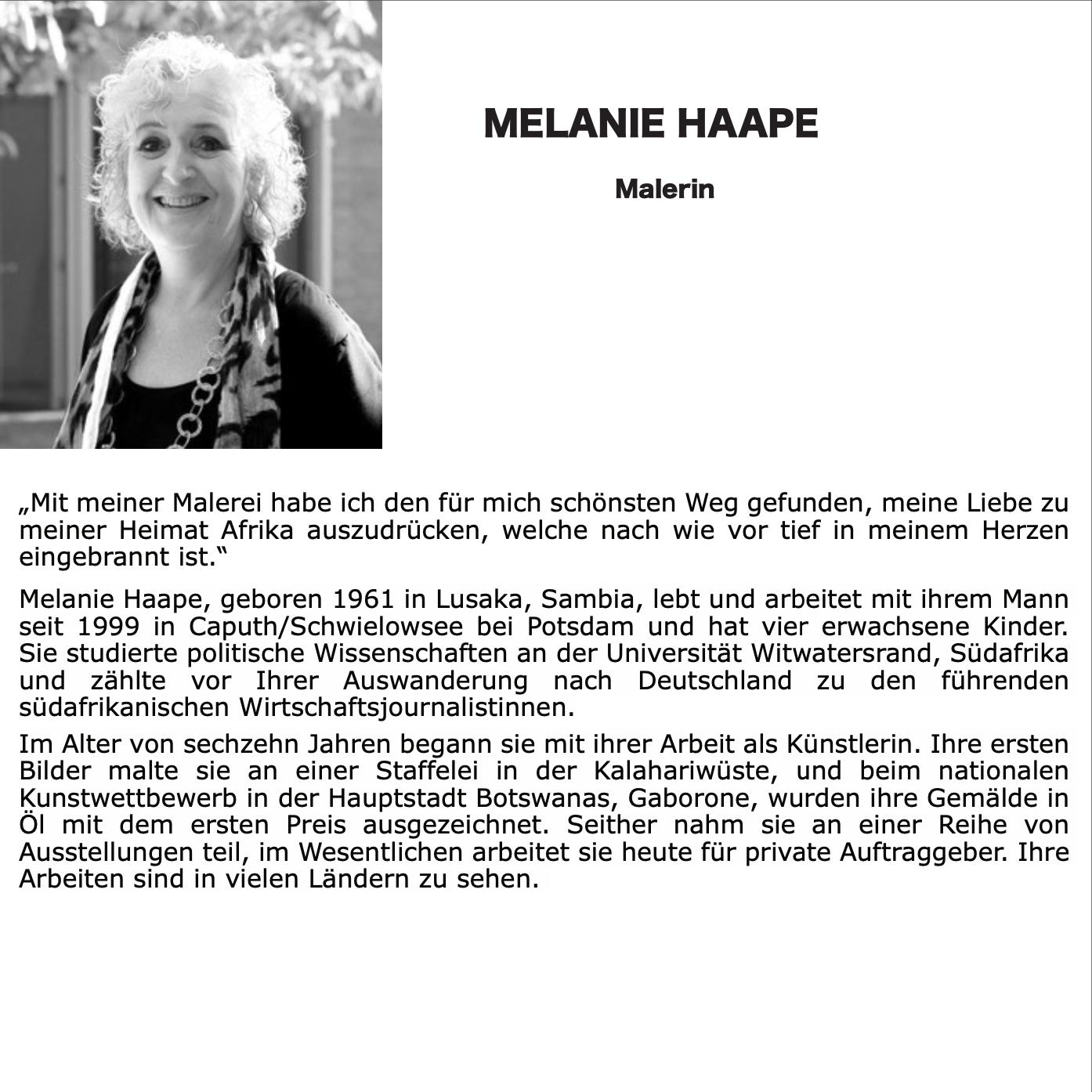 Künstlerin Melanie Haape, SchlossGalerie Haape